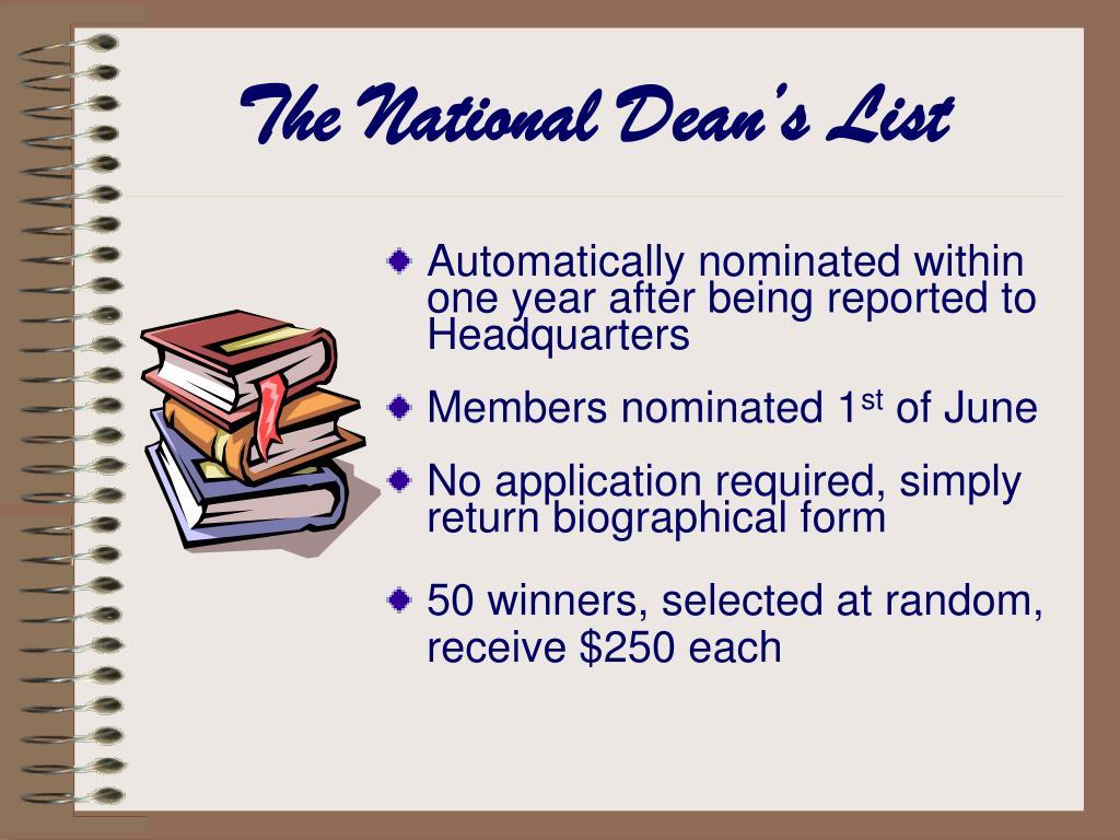 The National Dean's List