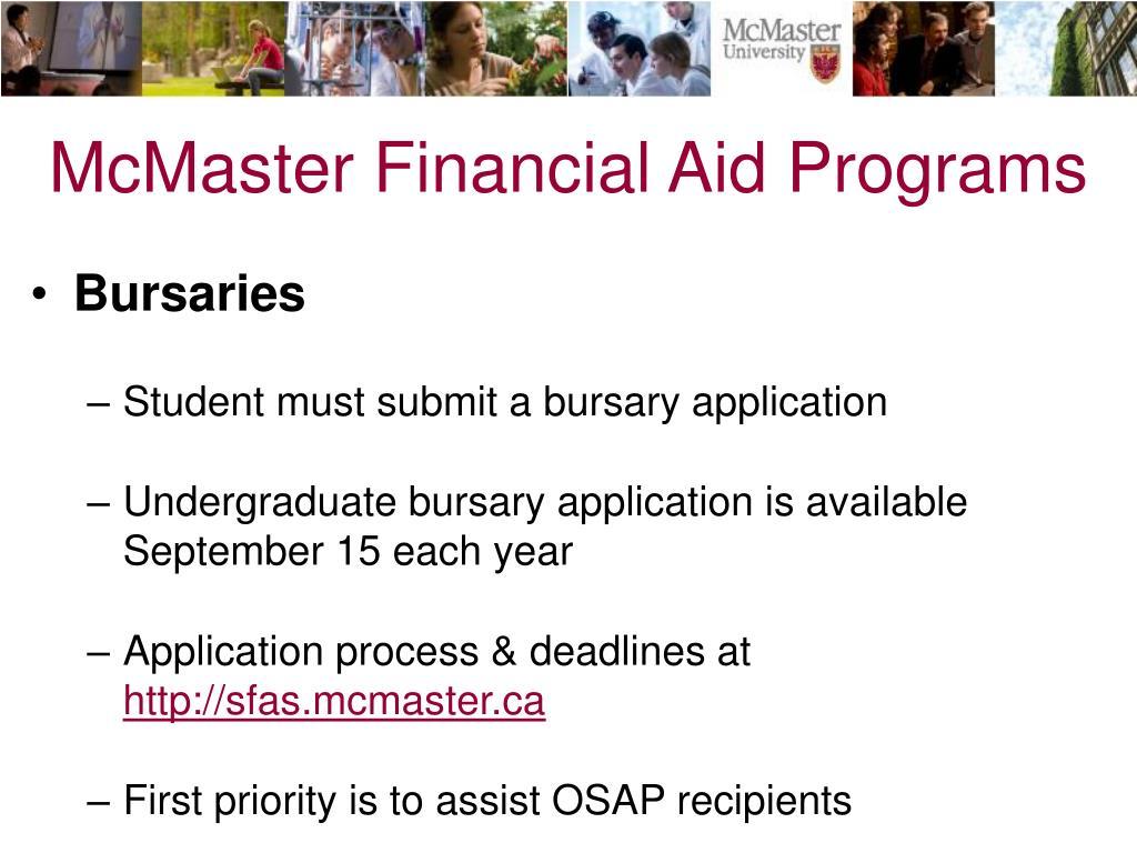 McMaster Financial Aid Programs