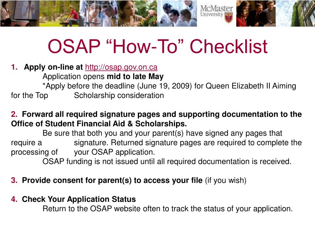 "OSAP ""How-To"" Checklist"