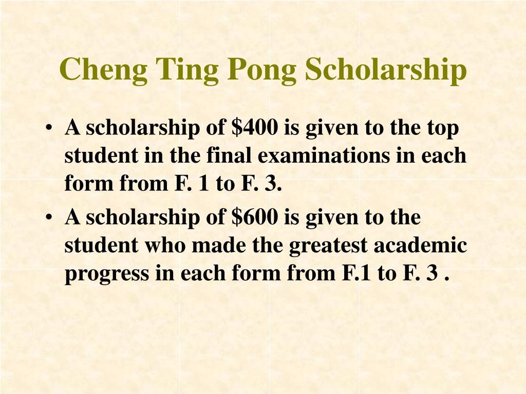 Cheng Ting Pong Scholarship