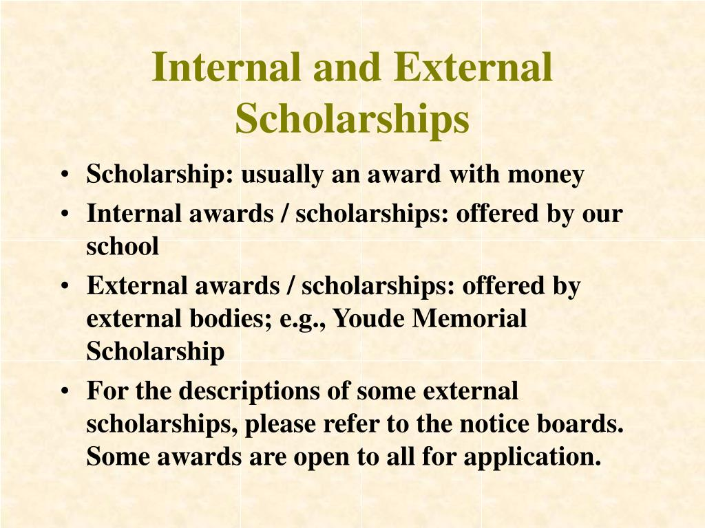 Internal and External Scholarships