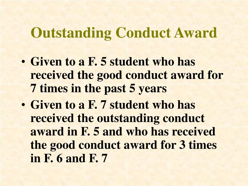 Outstanding Conduct Award