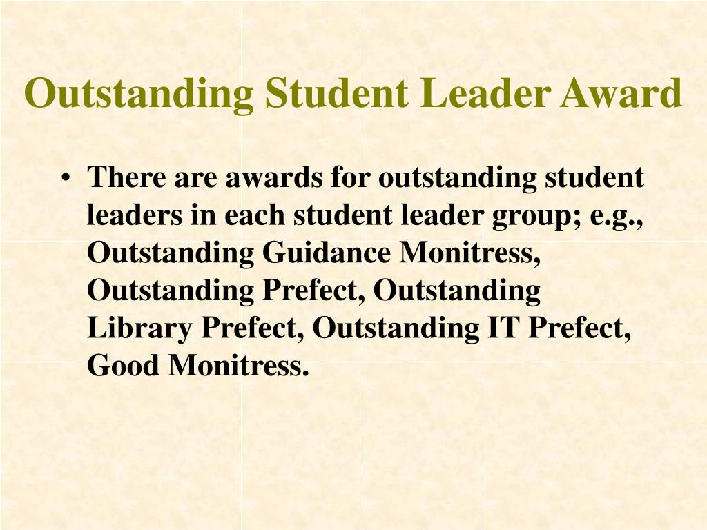 Outstanding Student Leader Award