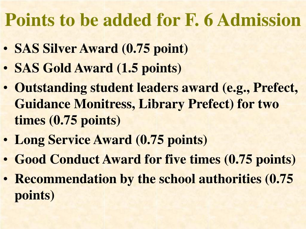 Points to be added for F. 6 Admission