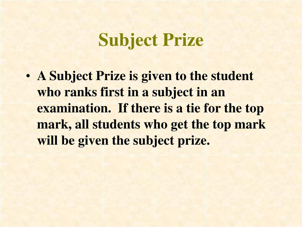 Subject Prize