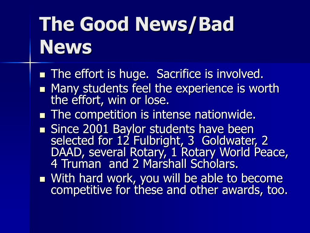 The Good News/Bad News