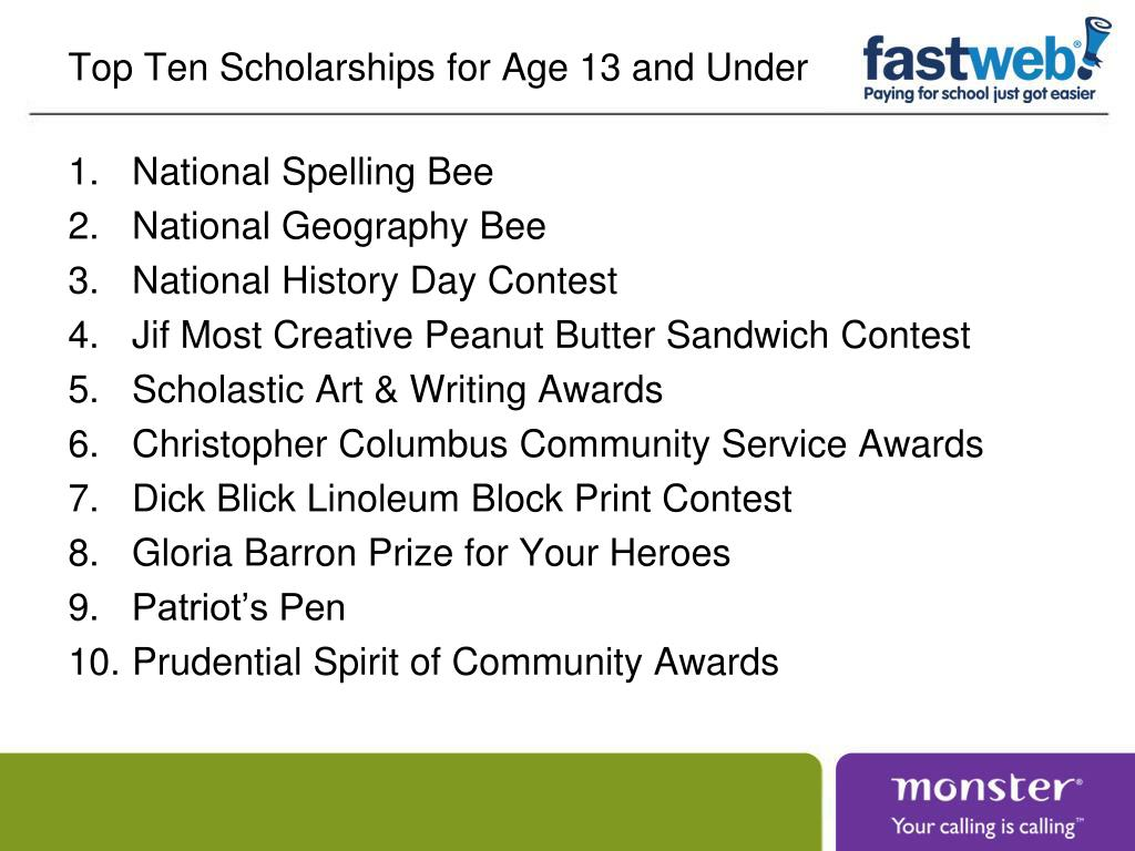 Top Ten Scholarships for Age 13 and Under