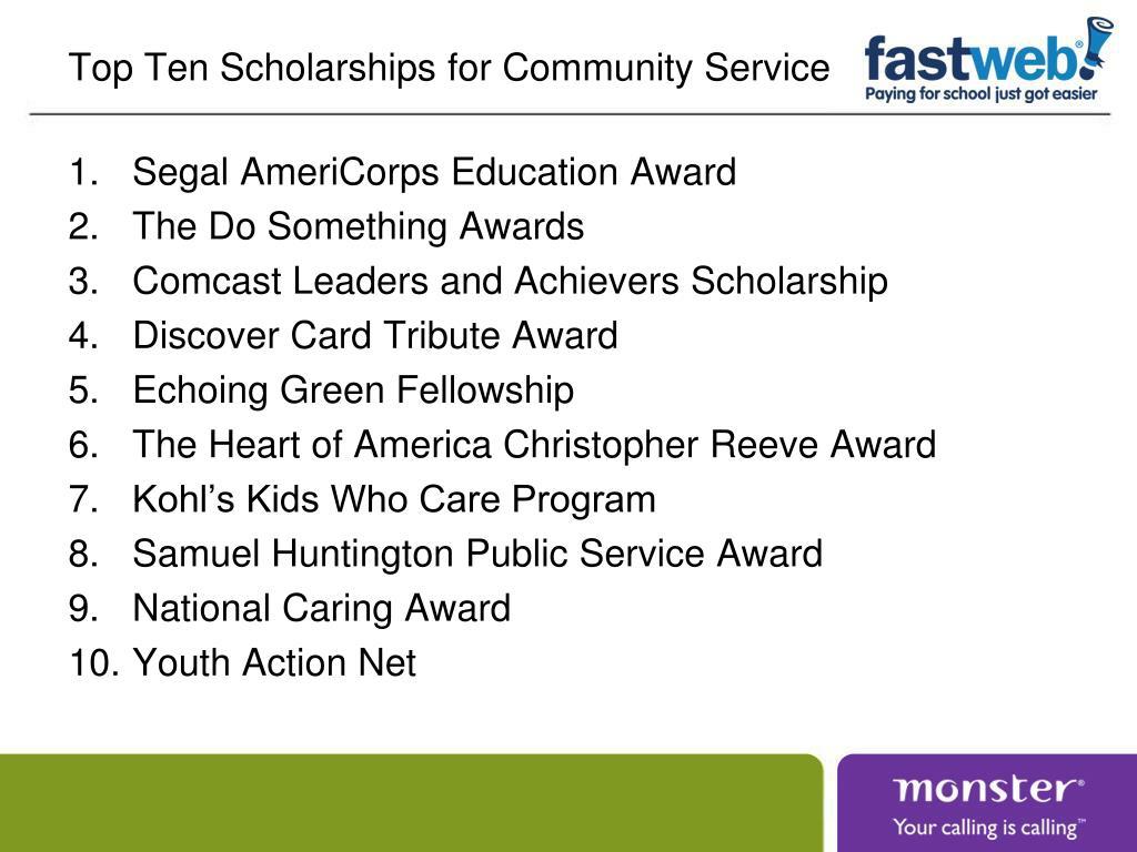 Top Ten Scholarships for Community Service