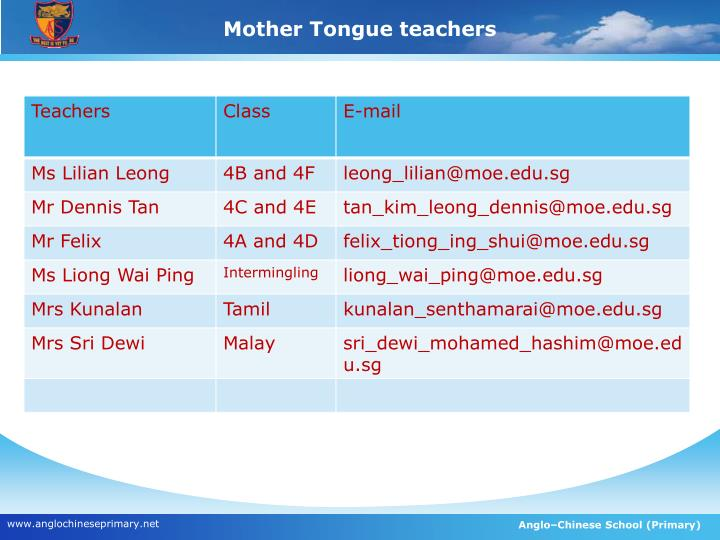 Mother Tongue teachers