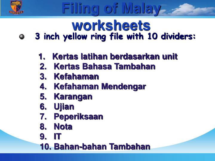 Filing of Malay worksheets