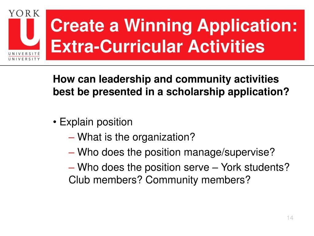Create a Winning Application: Extra-Curricular Activities