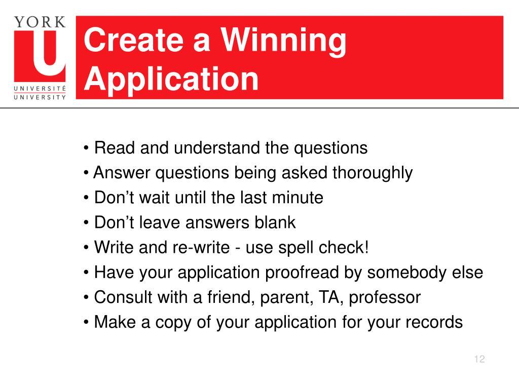 Create a Winning Application