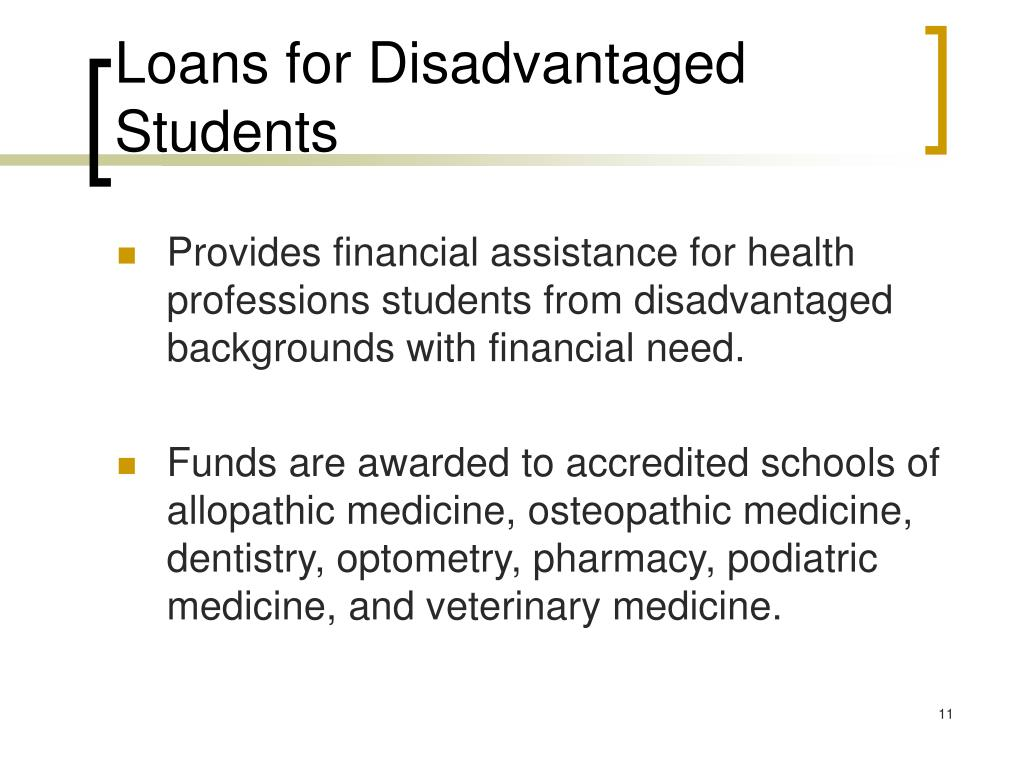 Loans for Disadvantaged Students