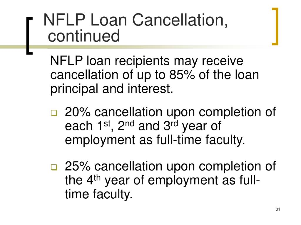 NFLP Loan Cancellation,