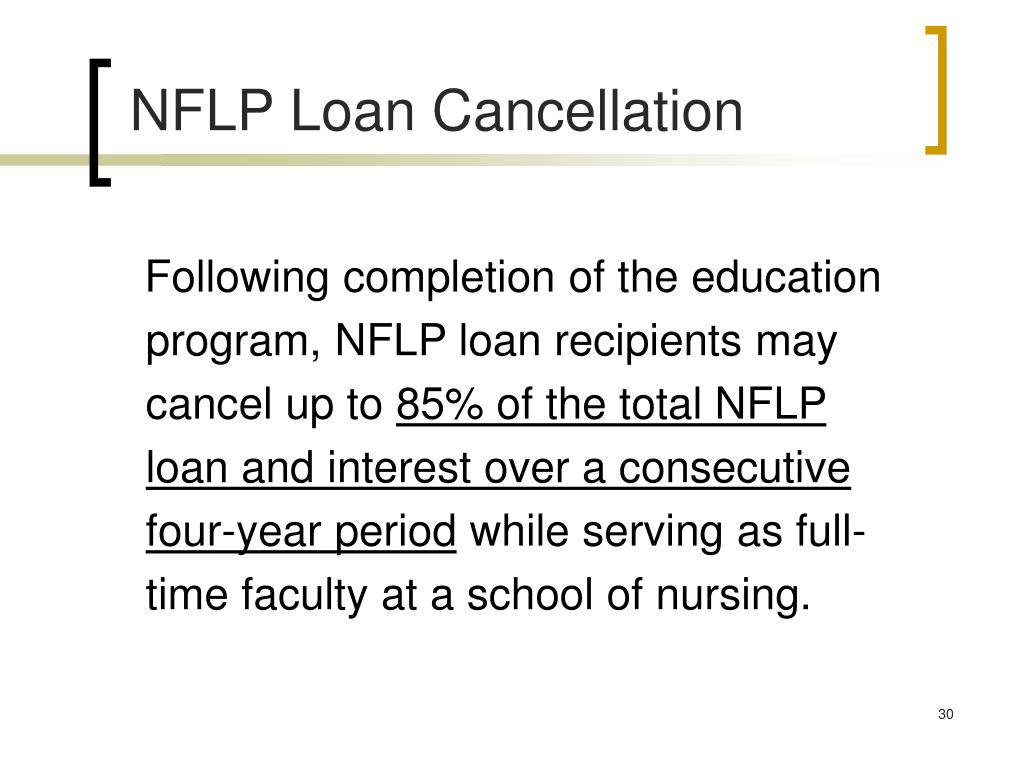 NFLP Loan Cancellation