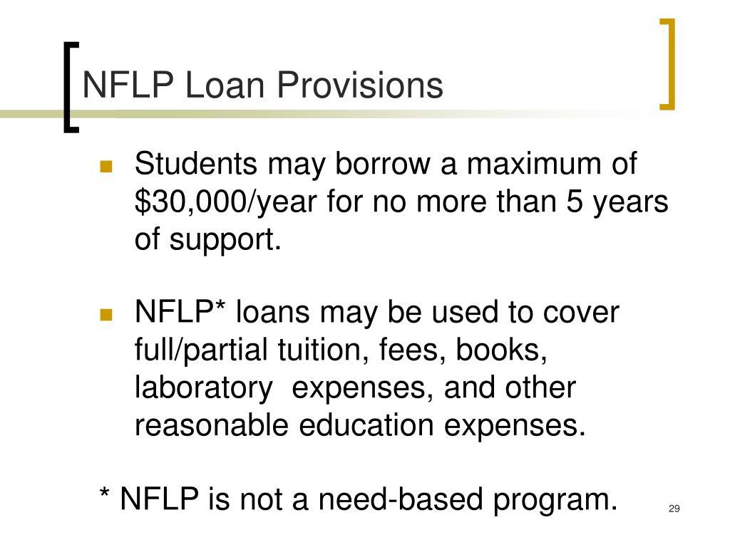 NFLP Loan Provisions