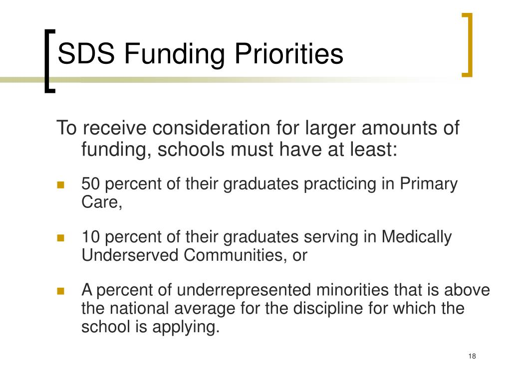 SDS Funding Priorities