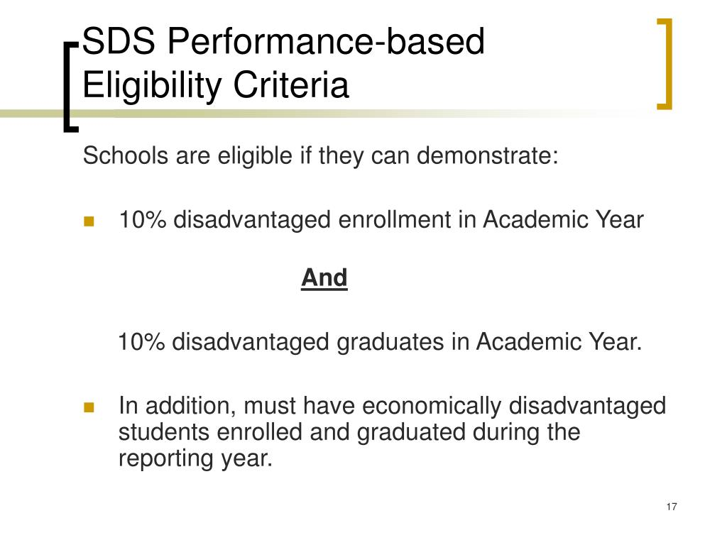 SDS Performance-based Eligibility Criteria