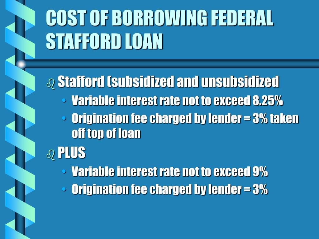 COST OF BORROWING FEDERAL STAFFORD LOAN