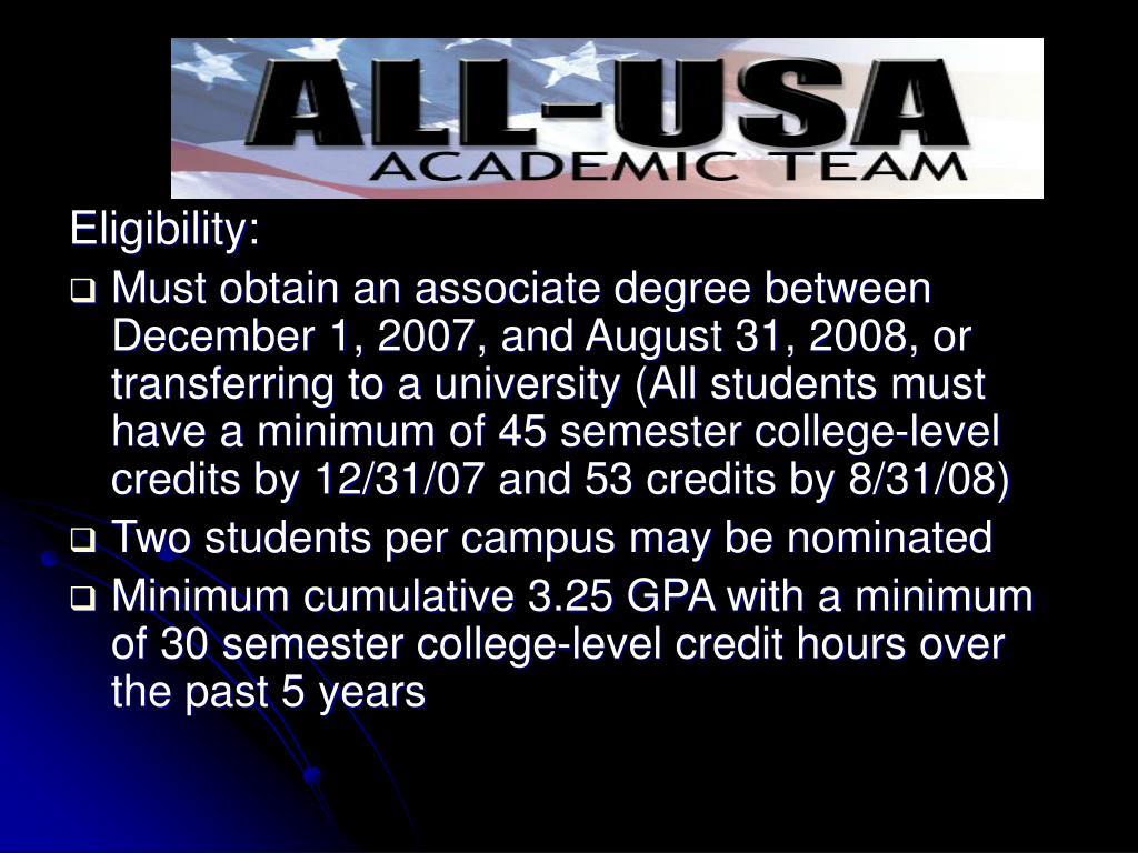 All-USA Eligibility