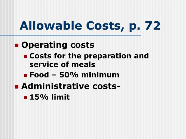 Allowable Costs, p. 72