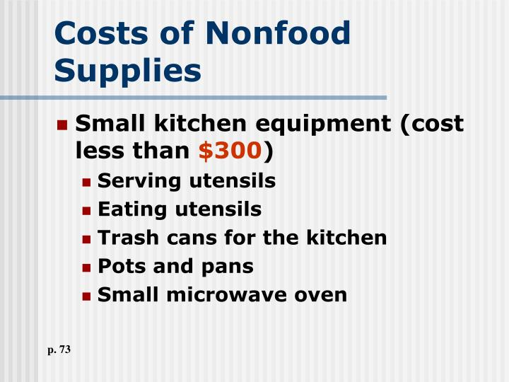 Costs of Nonfood Supplies