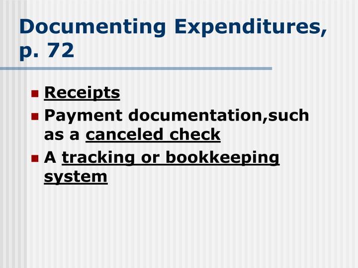 Documenting Expenditures, p. 72