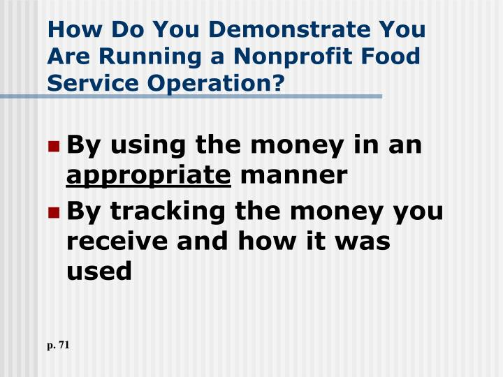 How Do You Demonstrate You Are Running a Nonprofit Food Service Operation?
