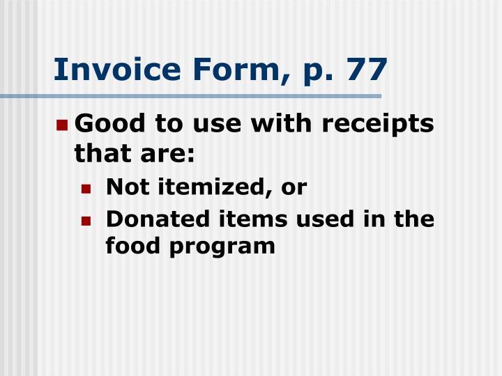 Invoice Form, p. 77
