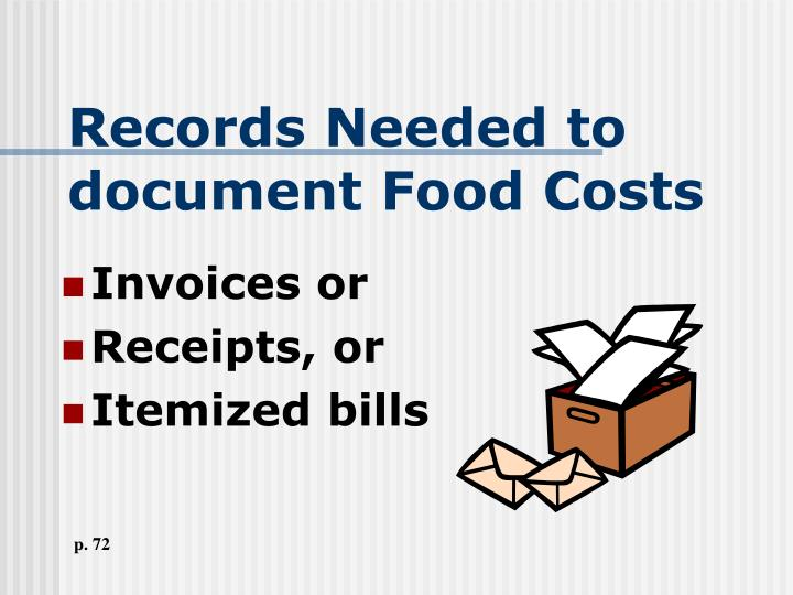 Records Needed to document Food Costs