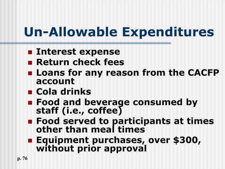 Un-Allowable Expenditures