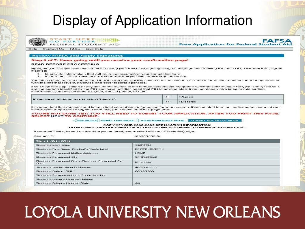 Display of Application Information