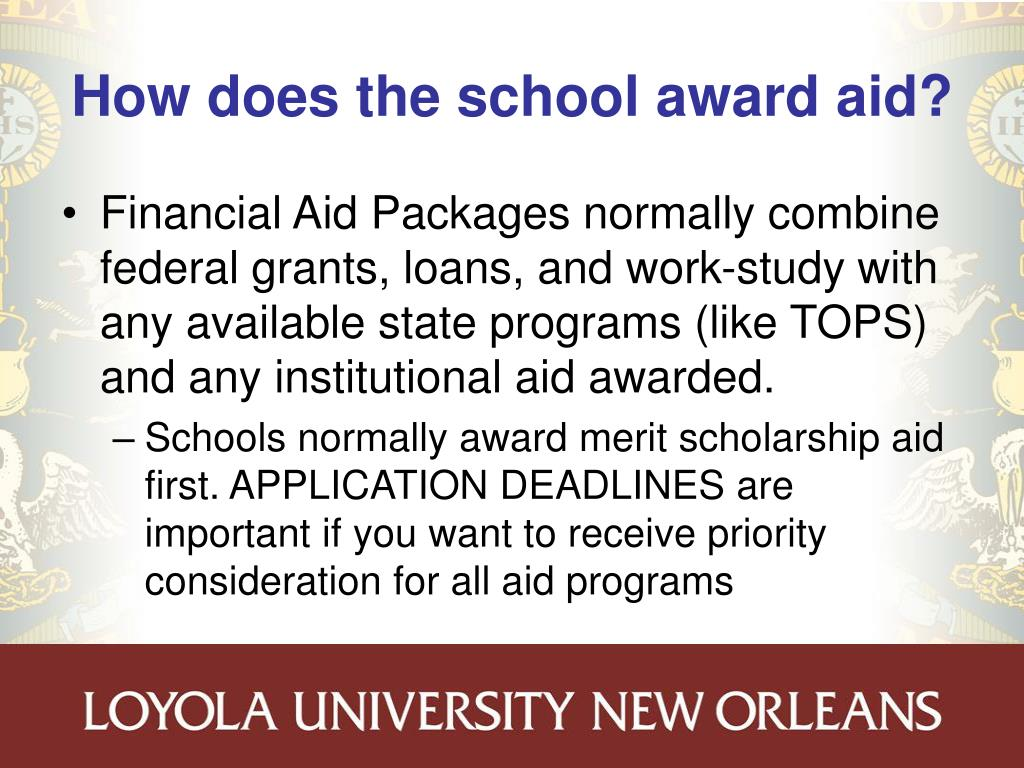 How does the school award aid?