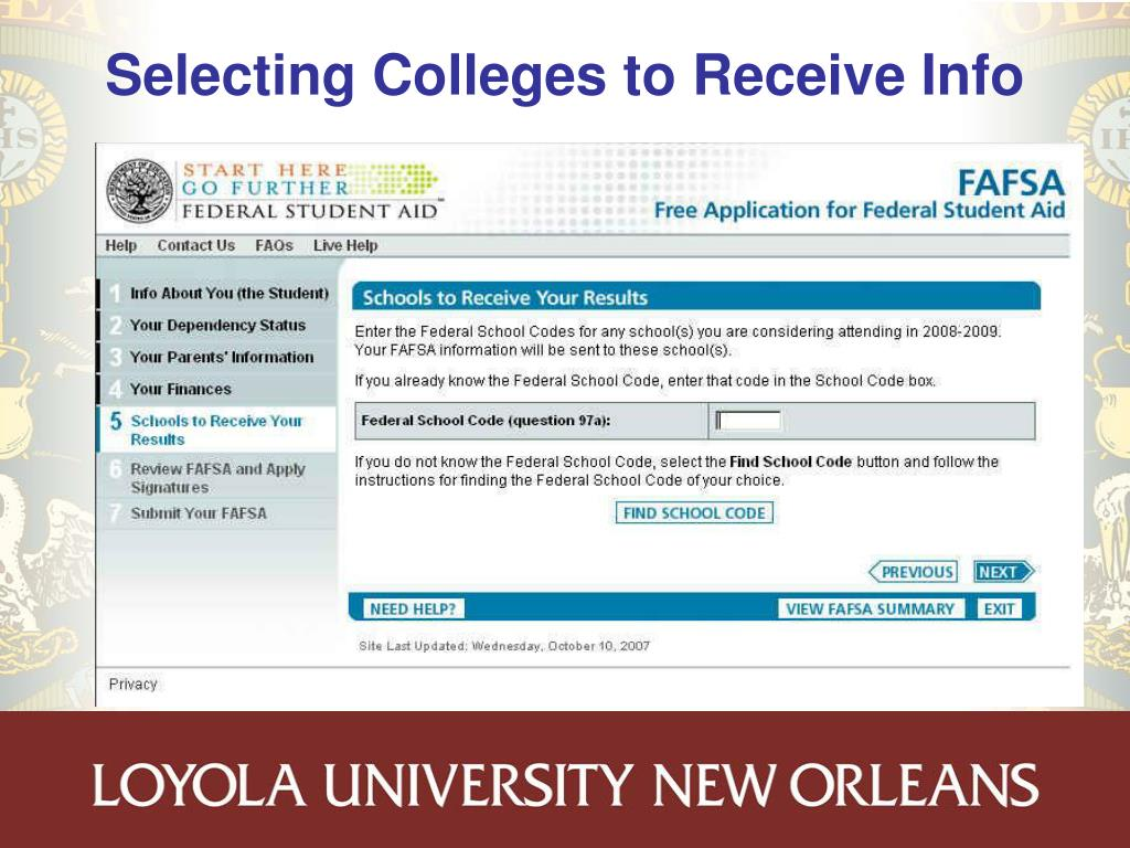 Selecting Colleges to Receive Info