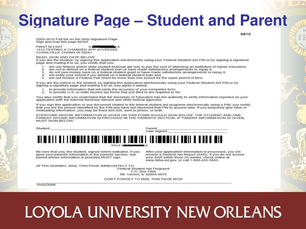 Signature Page – Student and Parent