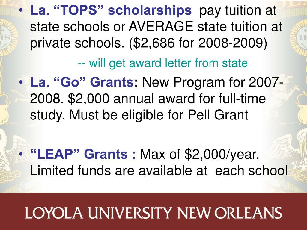 """La. """"TOPS"""" scholarships"""