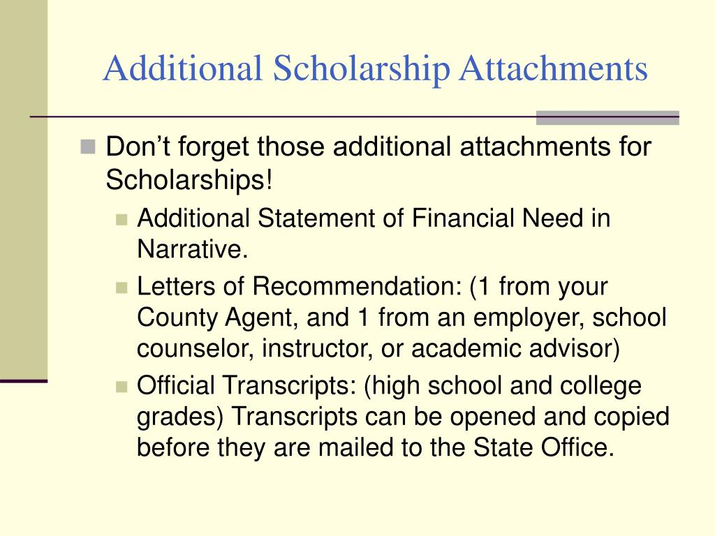 Additional Scholarship Attachments