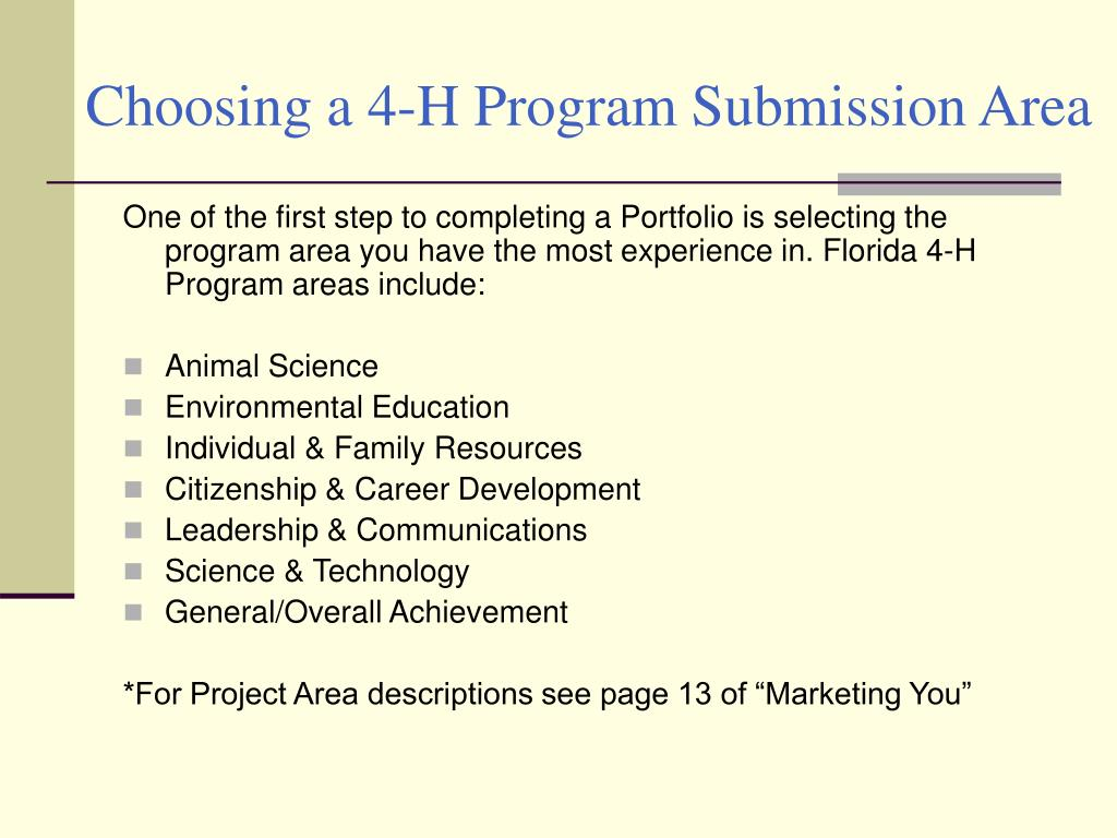 Choosing a 4-H Program Submission Area