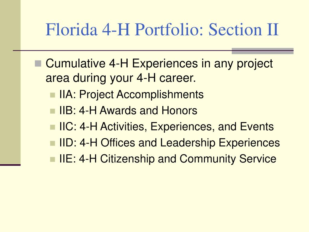 Florida 4-H Portfolio: Section II