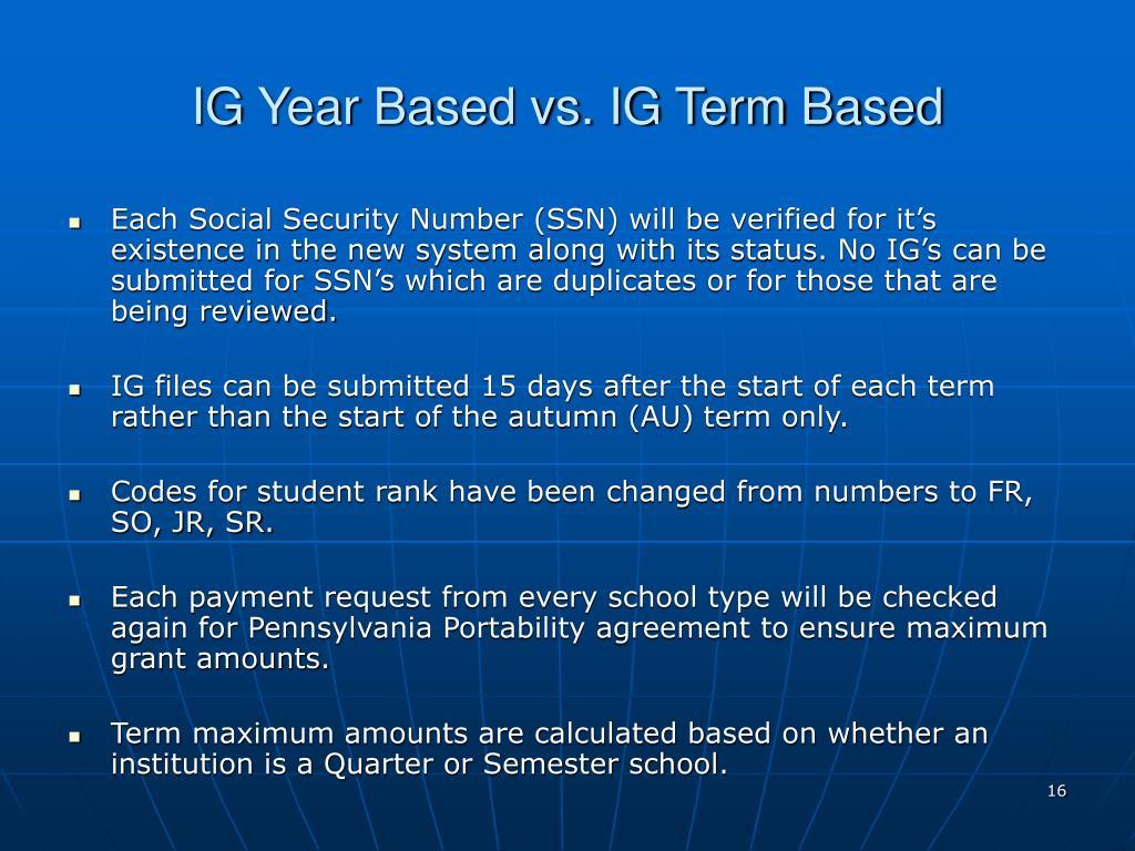 IG Year Based vs. IG Term Based