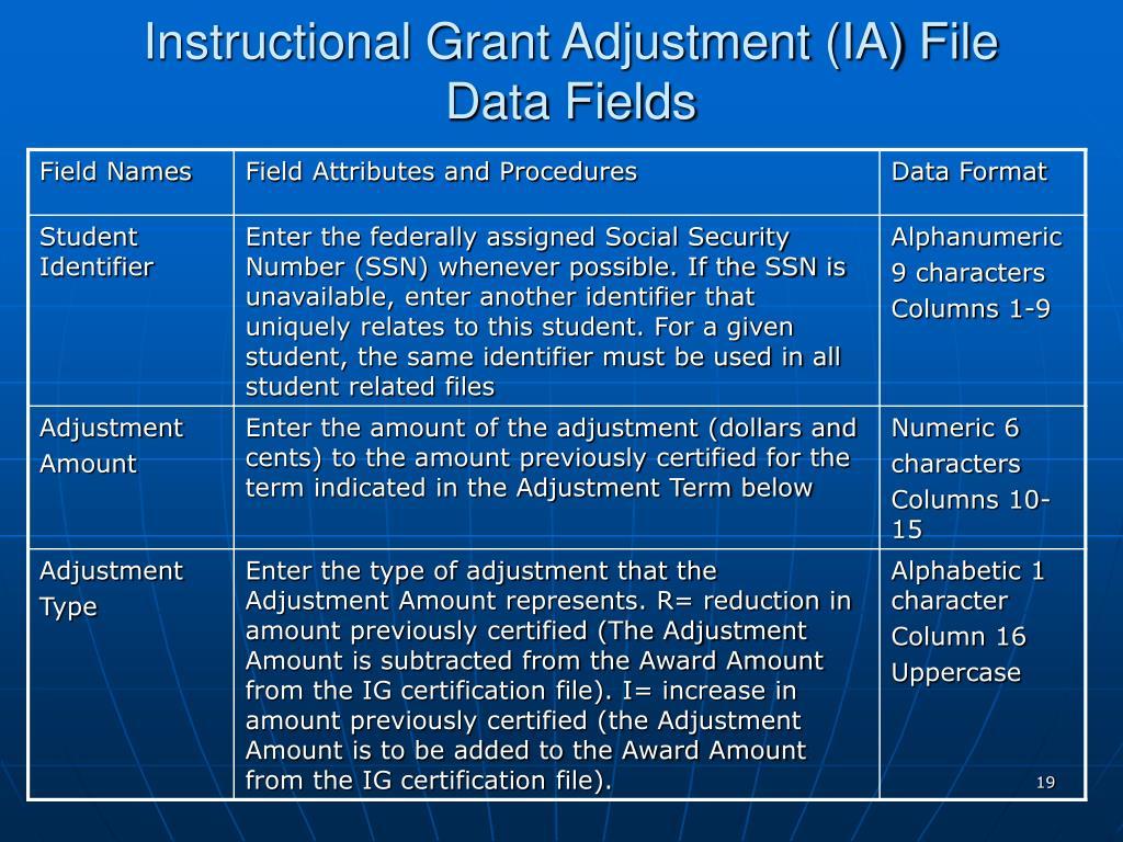 Instructional Grant Adjustment (IA) File