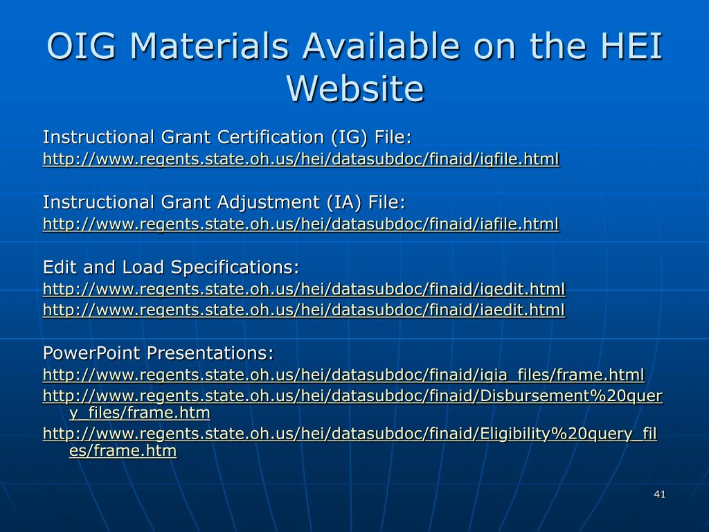 OIG Materials Available on the HEI Website