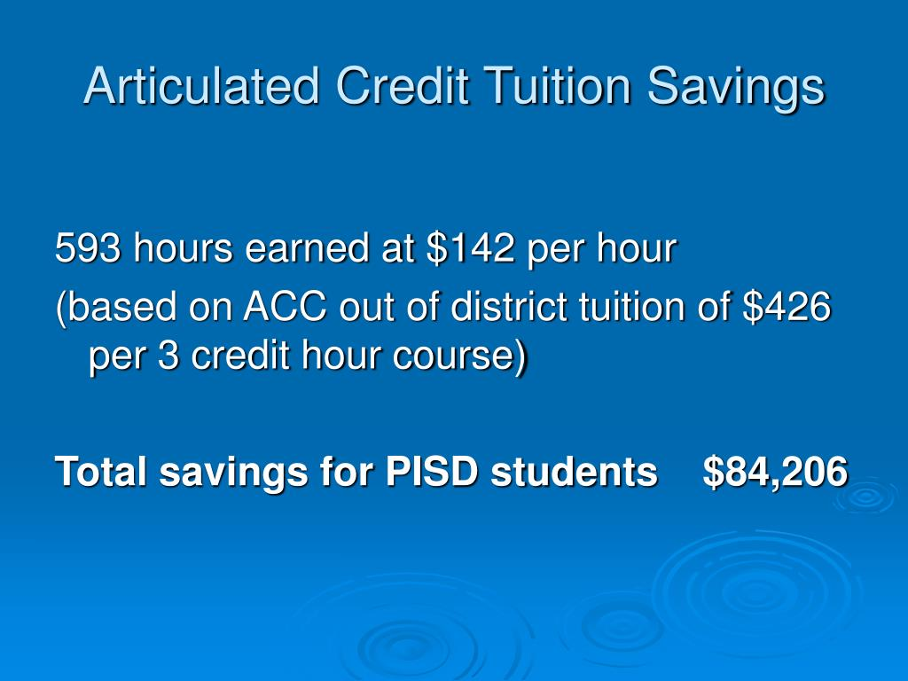 Articulated Credit Tuition Savings