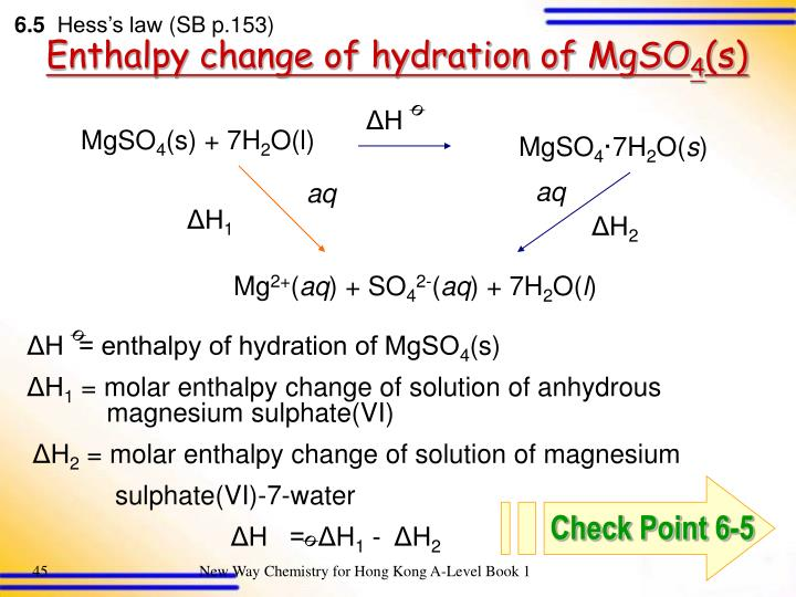 enthalpy change of the hydration essay Objective to determine the enthalpy change of the hydration of magnesium sulphate (mgso4) using hess's law procedures 1 the mass of a clean and dry polystyrene foam cup was weighed and recorded 2 50 0 cm3 of de-ionized water was measured by using a measuring cylinder 3 the 50 0 cm3 of water measured was poured it into the.