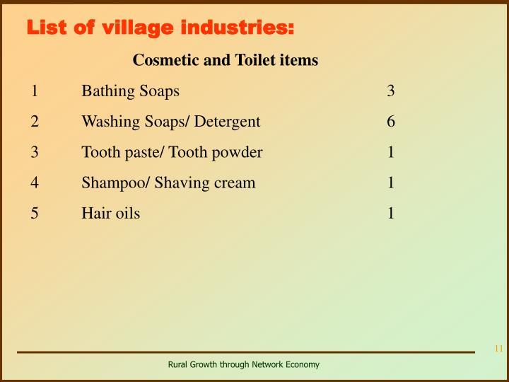 List of village industries: