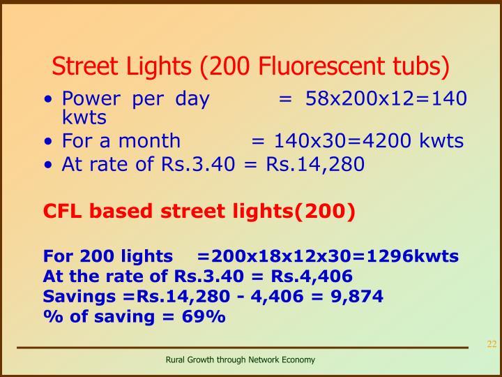 Street Lights (200 Fluorescent tubs)