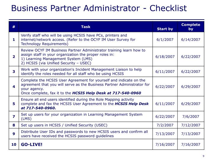 Business Partner Administrator - Checklist