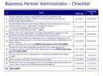 business partner administrator checklist