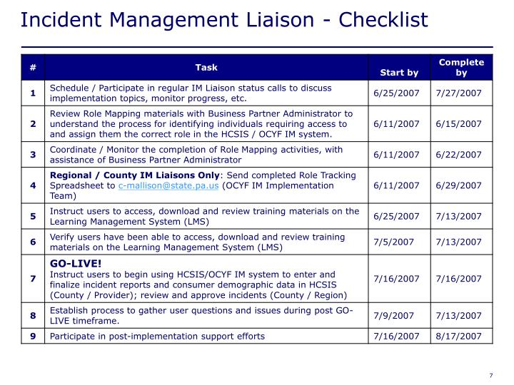 Incident Management Liaison - Checklist