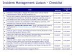 incident management liaison checklist